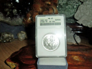 Click now to see the BUY IT NOW Price! 1925 P STONE MOUNTAIN SILVER COMM HALF DOLLAR MS 65 ANACS D/D OBVERSE {23 POPU}