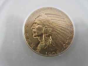 1909 D  INDIAN HEAD  $5  HALF EAGLE