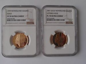 Click now to see the BUY IT NOW Price! NETHERLANDS 1 GULDEN 1999 & 2001 GOLD COINS NGC PF 70 / PL 70 ULTRA CAMEO
