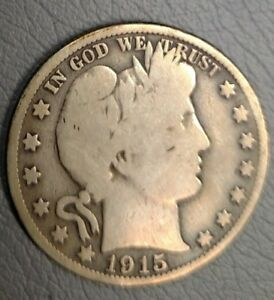 1915   S BARBER HALF DOLLAR    FAIR TO GOOD CONDITION