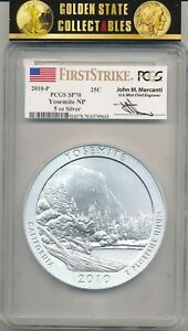 Click now to see the BUY IT NOW Price! 2010 P 5 OZ. ATB YOSEMITE  PCGS SP70 FIRST STRIKE JOHN MERCANTI SIGNED