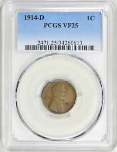 1914 D LINCOLN WHEAT CENT PCGS VF 25