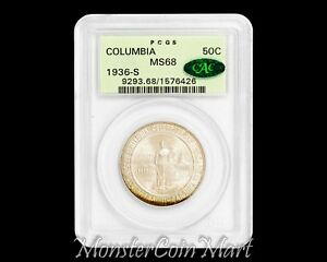 Click now to see the BUY IT NOW Price! 1936 S COLUMBIA SILVER COMMEMORATIVE HALF DOLLAR PCGS MS68 CAC   ONLY 2 HIGHER