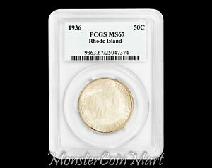 Click now to see the BUY IT NOW Price! 1936 RHODE ISLAND SILVER COMMEMORATIVE HALF DOLLAR PCGS MS67     ONLY 4 FINER