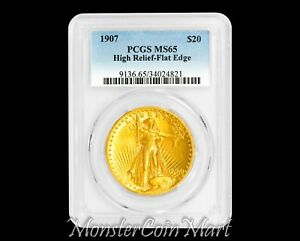 Click now to see the BUY IT NOW Price! 1907 $20 GOLD HIGH RELIEF PCGS MS65   FLAT EDGE     BEAUTIFUL EXAMPLE