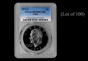 Click now to see the BUY IT NOW Price! [LOT OF 100]   1973 S CLAD EISENHOWER DOLLARS PCGS PR69DCAM: SUPER DEALER LOT