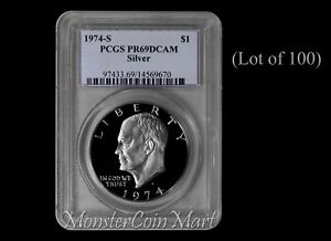 Click now to see the BUY IT NOW Price! [LOT OF 100]   1974 S SILVER EISENHOWER DOLLARS PCGS PR69DCAM: SUPER DEALER LOT