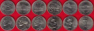 USA SET OF 6 NICKELS: 5 CENTS 1977 2006 UNC