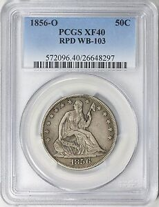 1856 O SEATED LIBERTY HALF DOLLAR RPD WB 103 PCGS XF 40