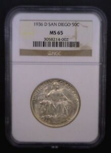 1936 D SAN DIEGO COMMEMORATIVE HALF DOLLAR NGC MS 65