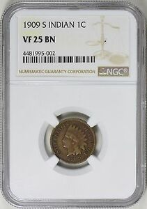 1909 S INDIAN HEAD CENT NGC VF 25