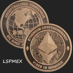 CRYPTOCURRENCY COLLECTION ETHEREUM 1 OZ .999 COPPER USA MADE BU BULLION ROUND