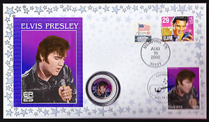 ELVIS QUARTER DOLLAR USA COIN & STAMP COVER MUSIC 2002 25TH ANNIVERSARY PRESLEY
