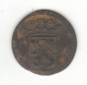 1744 DUTCH NEW YORK PENNY HOLLAND ARMS 1 DUIT COLONIAL COIN.