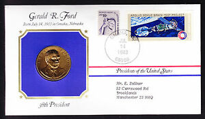 GERALD FORD AMERICAN USA PRESIDENT GOLD PLATED MEDAL MEDALLION 1983 STAMP COVER