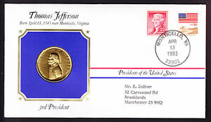 THOMAS JEFFERSON USA US PRESIDENT GOLD PLATED MEDAL MEDALLION 1983 STAMP COVER