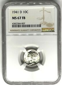 Click now to see the BUY IT NOW Price! 1941 D MERCURY DIME NGC MS67FB   FULL BANDS 10C  4382384 007