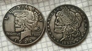 DOUBLE HOBO STYLE COIN 1922 1893  2 FACE  SILVER CLAD TONED DOLLAR SIZE   BC