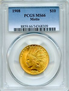 Click now to see the BUY IT NOW Price! 1908 $10 INDIAN PCGS MS66   WITH MOTTO INDIAN HEAD GOLD EAGLE  34368309