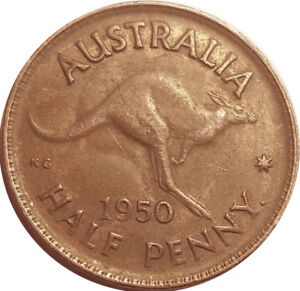 1950 AUSTRALIA   HALF PENNY OF KING GEORGE VI    EZ104