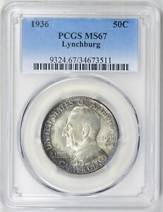 1936 LYNCHBURG COMMEMORATIVE HALF MS 67 PCGS CERTIFIED   COLOR