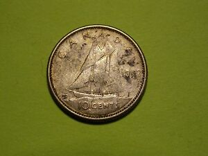 1962 CANADA SILVER 10 CENT   CIRCULATED CANADIAN DIME                 MM100