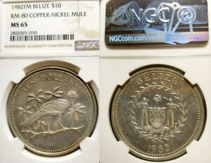 Click now to see the BUY IT NOW Price! BELIZE EXT.  MULE 10 DOLLARS 1982 REV W/1974 78 OBV 3 COINS STRUCK NGC 65