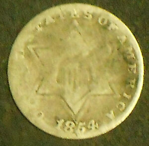 1854 P SILVER THREE CENT PIECE. LOW MINTAGE.