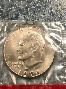1974 D UNCIRCULATED IKE DOLLAR IN CELLO