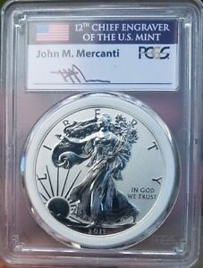 2011 P MERCANTI ENGRAVER SERIES 25TH ANNIV. SET REVERSE SILVER EAGLE PCGS PR70