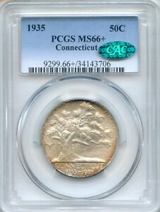 Click now to see the BUY IT NOW Price! 1935 CONNECTICUT PCGS MS66  CAC  PLUS COMMEMORATIVE HALF DOLLAR 50C  34143706