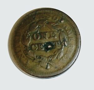 1852 LARGE CENT  BRAIDED HAIR    GOOD
