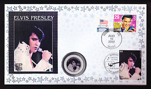 ELVIS QUARTER DOLLAR USA COIN GAMBIA STAMP COVER MUSIC 2002 ANNIVERSARY PRESLEY