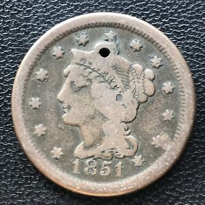 1851 LARGE CENT BRAIDED HAIR ONE CENT 1C 7065