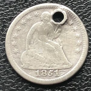 1851 O SEATED LIBERTY HALF DIME 5C NEW ORLEANS  CIRCULATED HOLED 11563