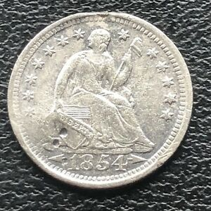 1854 O SEATED LIBERTY HALF DIME 5C NEW ORLEANS  CIRCULATED 11571