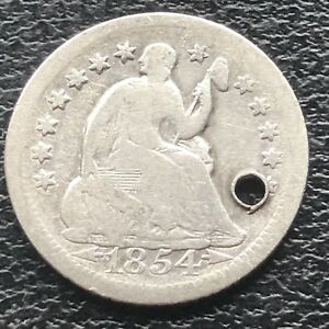 1854 O SEATED LIBERTY HALF DIME 5C NEW ORLEANS  CIRCULATED HOLED 11572