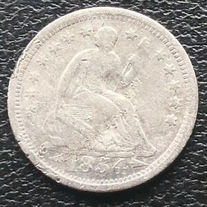 1854 O SEATED LIBERTY HALF DIME 5C NEW ORLEANS  CIRCULATED 11573
