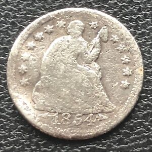 1854 O SEATED LIBERTY HALF DIME 5C NEW ORLEANS  CIRCULATED 11574