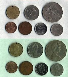 FIJI 1980 2000 SET OF 7 CIRCULATED COINS FROM 1 CENT TO 50 CENTS X/FINE COND.