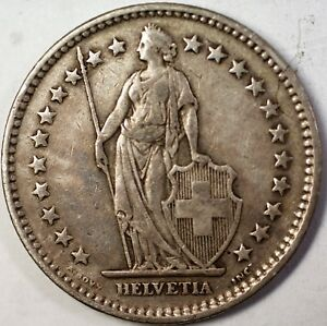 1941 B SWITZERLAND 2 FRANCS AVERAGE CIRCULATED HELVETIA SILVER COIN