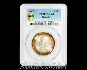 Click now to see the BUY IT NOW Price! 1937 50C SILVER COMMEMORATIVE ROANOKE PCGS MS68   TONING   ONLY 1 GRADED HIGHER
