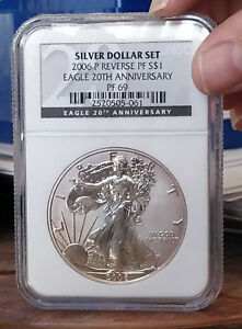 2006 P AMERICAN SILVER EAGLE REVERSE PROOF 20TH ANNIVERSARY NGC GRADED PF69