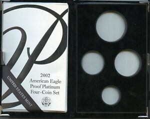 2002 4PC PROOF PLATINUM AMERICAN EAGLE BOX & COA NO COINS OR CAPSULES
