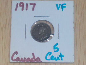 1917 CANADA SILVER 5 CENTS COIN  .925/.0346 ASW         L232