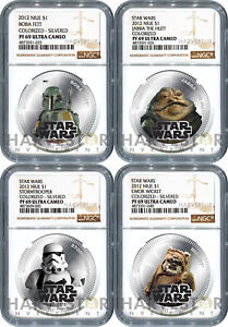 Click now to see the BUY IT NOW Price! 2012 STAR WARS: SILVERED 4 COIN SET   NGC PF69 ULTRA CAMEO   NIUE   TOP POP