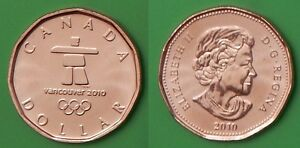 2010 CANADA LUCKY 1 DOLLAR WITH INUKSHUK  LOGO FROM MINT'S WRAPPED ROLL