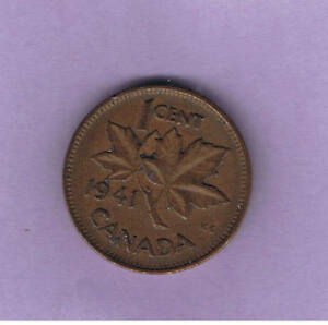 1941 CANADIAN ONE CENT PENNY CIRCULATED