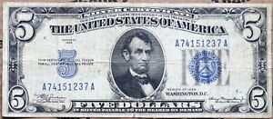 FR 1650 1934 $5 US SILVER CERTIFICATE CIRCULATED AA SERIES A74151237A FREE SHIP