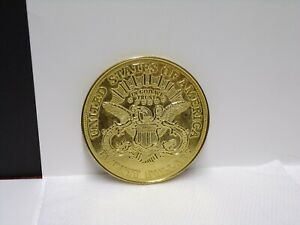 NOT A COIN HUGE 3 INCH 1882 TWENTY $ GOLD  DOUBLE EAGLE COASTER READ BELOW